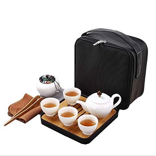 WNTHBJ Lanolin Jade high White Porcelain Tea Set Travel Portable Kung FuPortable Travel Tea Set Vintage Chinese Handmade Kung Fu Tea Set and Travel Bag