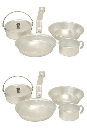 (2) Coleman Aluminum Camping Mess Kit Cookware Sets - Cup, Pan, Pot, & Plate