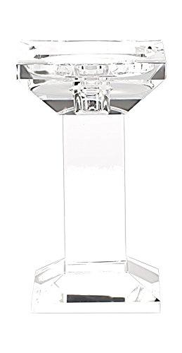 True Grit Fine Crystal Square Base Tall Pillar Decorative Candlestick Holder 6 14 Height x 3 12 Width
