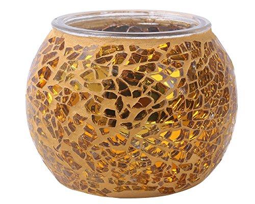 niceEshopTM Mosaic Glass Tea Light Votive Candle Holders Candleholder Stand Golden