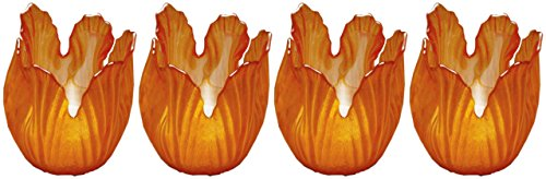 Biedermann Sons Pearlized Amber Glass Floral Votive Holder Box of 4