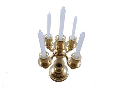 Dollhouse 5 Arm Filled Antique Candelabra Miniature Brass candlestick sconce