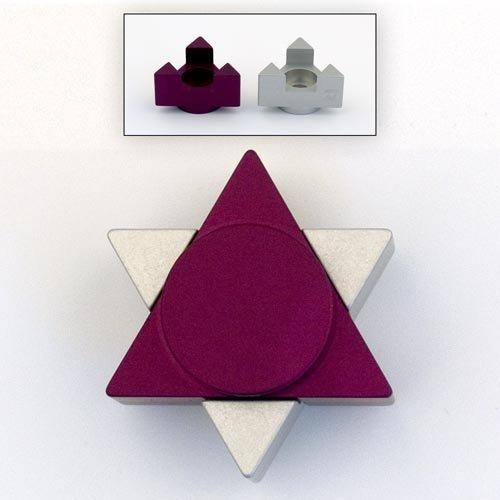 Agayof Star of David Travel Shabbat Candlesticks 2 Purple