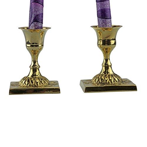 Beautifully Designed Brass Shabbat Candlesticks with Square Base