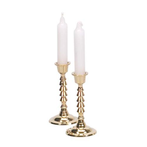 Brass Shabbat Candlesticks 4 12 Tall - Set of 2