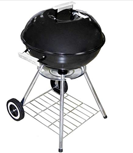 Alpine Classic Large 18x31 Charcoal Barbecue Grill Portable BBQ Heavy Steel WWheels Legs Ash Catcher Black