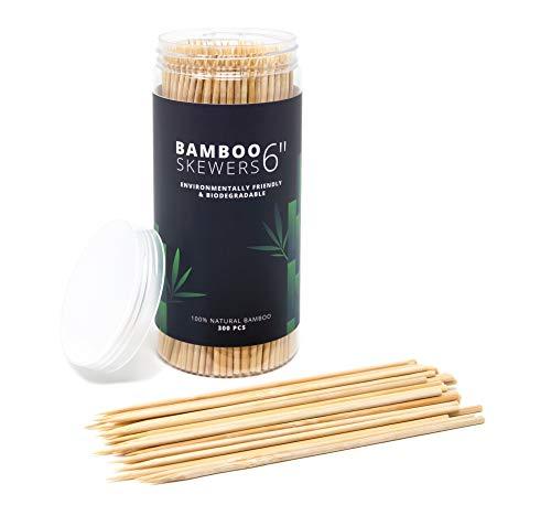 300 pack 6 bamboo skewers bbq skewers shish kabob skewers meat sticks chocolate dipping tool appetizer picks cocktail picks wooden skewers for chocolate melts toothpicks for appetizers