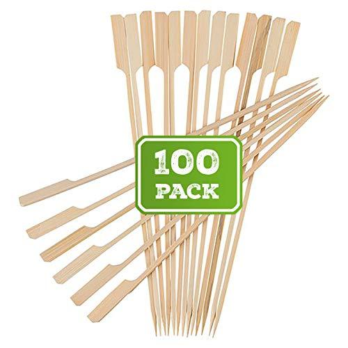 BAMBOOSUMO 10 Bamboo Shish Kabob skewers for Grilling  Extra Long  Flat Wood Skewer Shape wFlag Paddle Handle