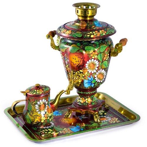 Khokhloma Painting Russian Samovar Tea Maker Set With Tray & Teapot
