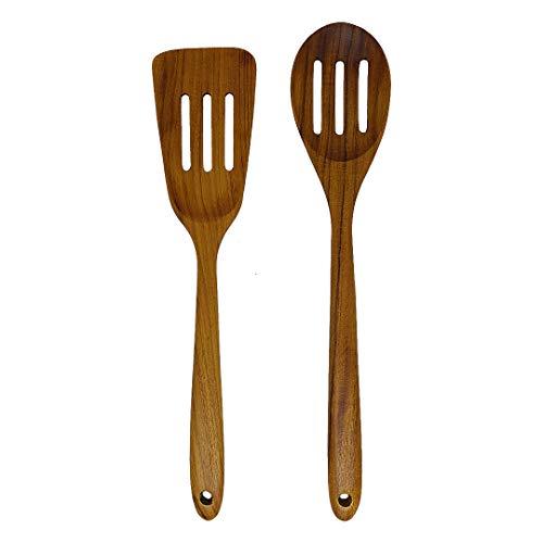 Kunyai - Teak Wood Utensils Set - Slotted Spatula Slotted Spatula - Nonstick Hard Wooden Slotted Spatulas Set - Product from Thailand - Slotted Spoon and Spatula Set of 2