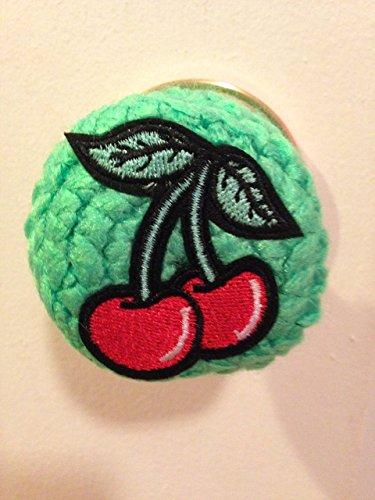 Door knob Cover Red Cherry handmade crochet fruit red green leaves