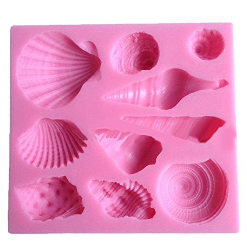 ELINKA Cute Romantic Seashell Sea Shell Silicone Cake Mould Chocolate Fondant Mold Soap Molds Silicone Baking Molds