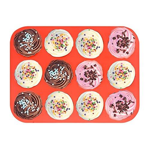 12 Cup Silicone Muffin Pan Cupcake Baking Pan NonstickDishwasher - Microwave SafeRed Bakeware