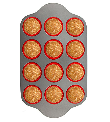 Silicone Muffin Pan With Steel Frame 12 Cups Full Size  Professional Non-Stick Baking Molds by Boxiki Kitchen  FDA Approved BPA-Free Bakeware  Silicone 12 Cup Muffin Mold
