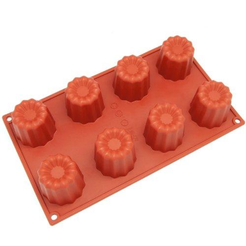 Freshware SL-107RD 8-Cavity Medium Silicone Mold for Caneles and Bordelais Fluted Cakes