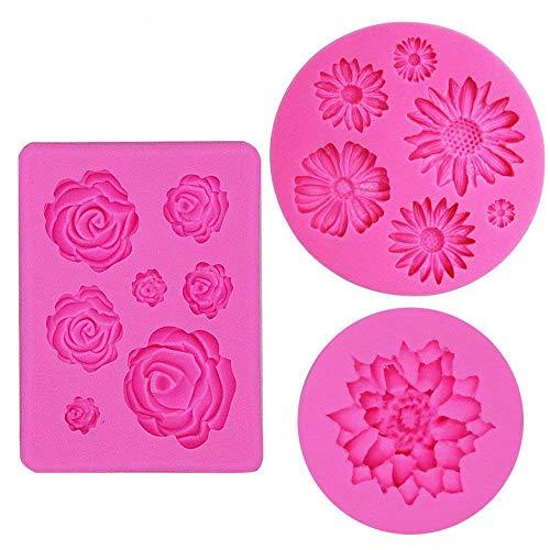 IHUIXINHE Silicone Cake Mould Fondant Molds Silicone Baking Molds Flower Daisy Roses