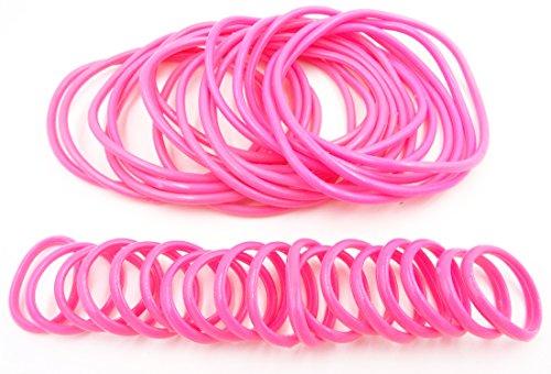 36 Piece Pink Rubber Gummy Bracelets Silicone Jelly Bracelet Rings Set