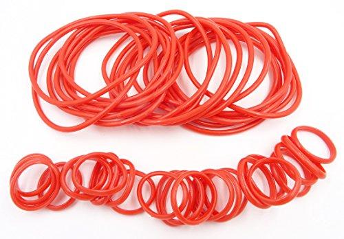 36 Piece Red Rubber Gummy Bracelets Silicone Jelly Bracelet Rings Set