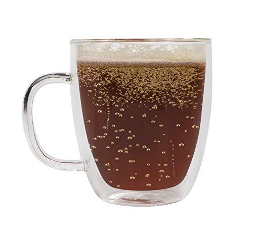 Sage Double Wall Large Glass Mug - Insulated Coffee Cup - Dishwasher Safe 16 oz 1