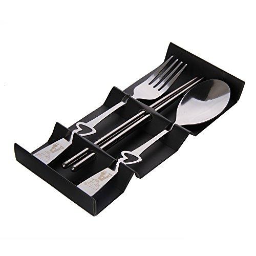 Whitelotous Stainless Steel Love Heart Spoon Fork Chopsticks Wedding Party Favor Gift