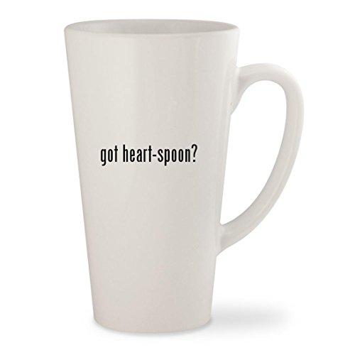 got heart-spoon - White 17oz Ceramic Latte Mug Cup