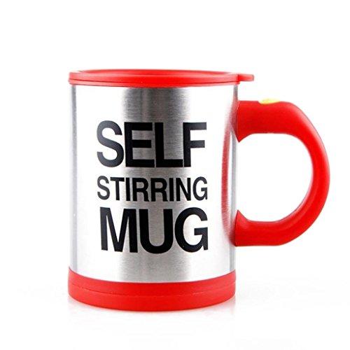 La Tartelette Self Stirring Coffee Mug Silver 118 oz Red