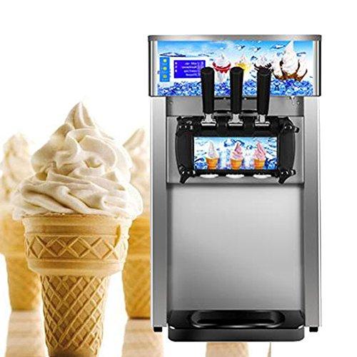 Enshey Commercial Ice Cream Machine 18LH Food Grade 304 Stainless Steel 3 Flavor Hard Ice Cream Dessert Maker 110V  60Hz Small Desktop 1200W Digital Display Low Power Ice Cream Making Machine
