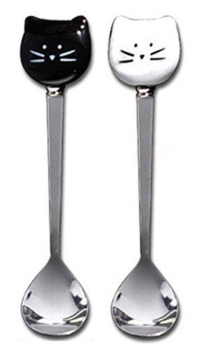 2PC Cartoon Cat Scoop Spoons Stainless Steel Coffee Ice Cream Tea Tableware White and Black