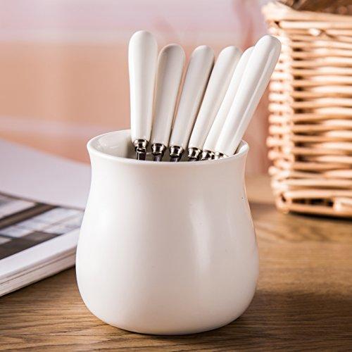 BBer Creative minimalist black and white ceramic stainless steel fruit dessert fork set a base 6 fork White