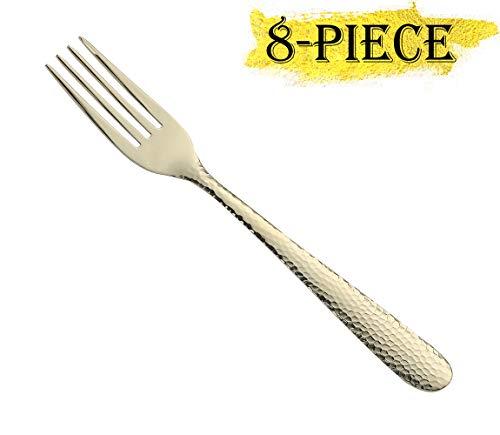 Gold Dessert Forks Set of 8 Stainless Steel Hammered Golden 7-Inch Salad Fruit Forks 8-Piece Mirror Finish Appetizer Forks Dishwasher Safe