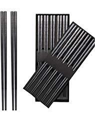 10-Pairs Fiberglass Chopsticks - Reusable Chopsticks Dishwasher Safe 9 12 Inches By JSDOIN Fiberglass Chopsticks Classic Black