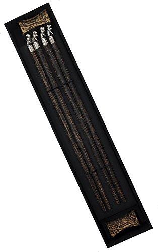 Amazing Grace Palm Wood Metallic Animal Chopsticks Gift Set Silver St Bernard Dog