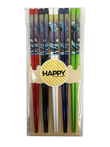 Happy Sales Bamboo Chopsticks Gift Set Multi Color Design Fuji Mountain wave