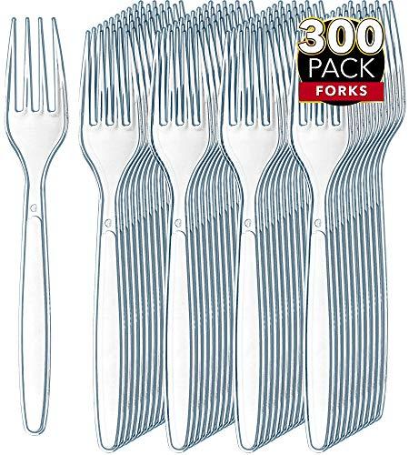 300 Clear Plastic Forks  Heavy Duty Plastic Silverware Forks  Fancy Plastic Cutlery  Elegant Disposable Forks Pack  Bulk Disposable Flatware  Plastic Utensils Set  Disposable Silverware Cutlery