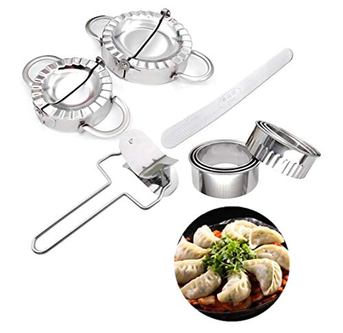10 Pieces Stainless Steel Dumplings Maker SetDumpling Press molds Skin Maker Stuffing Spoon Flour Ring CutterChinese Dumpling Pie Ravioli Empanadas Press Mold Kitchen Accessories