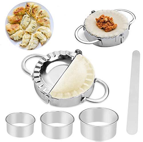 6 Pcs Stainless Steel Dumplings Maker Set 2 Dumpling Press Pie molds Chinese Dumpling 3 Dumpling Skin Maker Flour Ring Cutter 1 Filling Stuffing Spoon for Dumpling Empanadas Kitchen Accessories Tool