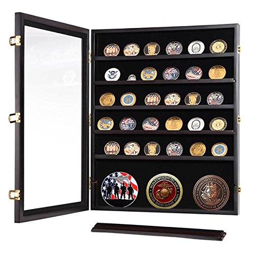Military Shadow Box Pins Badge Coin Display Cabinet Rack Wood