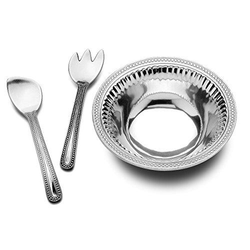 Wilton Armetale Flutes and Pearls Medium 3-Piece Salad Serving Set 3-Quart
