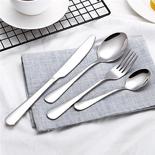 4 Pieces Cutlery Set - Silver Stainless Steel Dinnerware Sets Tableware Knife Spoon Fork Utensils Western Food Set
