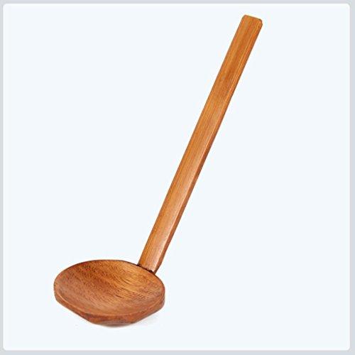 Jujunx Wood Ladle Serve Pierced Table Spoon Hot Pot Ramen Soup Spoons Slotted Scoop Brown