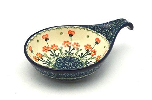 Polish Pottery SpoonLadle Rest - Peach Spring Daisy