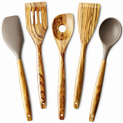 5 Piece Olive Wood Kitchen Cooking Utensils Slotted Turner Flat Turner Corner Spoon Silicoen Spoon and Spatula