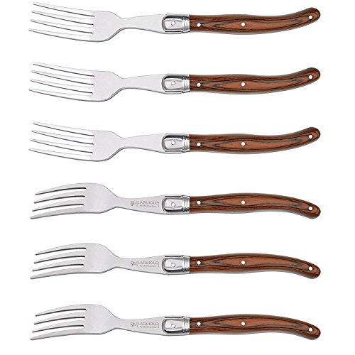 Forks Set of 6 Hailingshan Heavy Duty Stainless Steel Dinner Table Flatware Set Laguiole Premium Kitchen Cutlery Utensils Salad Meat Steak Fork Mirror Finish Wooden Handle 23cm 6-Piece Gift Box