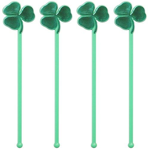 Royer 6 Inch Plastic Shamrock St Patricks Day Clover Swizzle Sticks Drink Stirrers Barware Set of 24 Green Plastic w Metallic Foil Stamping - Made In USA