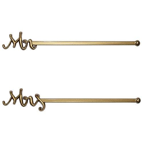 Royer 6 Plastic Mr Mrs Wedding Swizzle Sticks Drink Stirrers Set of 48 - Made In USA Gold