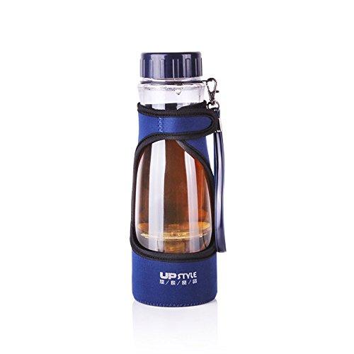 UPSUPSTYLE Tea Infuser - Tea Tumbler Food-grade Plastic Tea Cup with Filter Removable Infuser Portable Sport Travel Bottles Travel Tea Mug -Travel Coffee Mug Blue with Sleeve