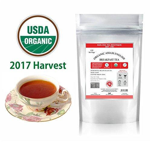 SANCHA Assam English Breakfast Tea USDA Organic Certified StrongRich FlavouryBlack Tea Whole LeafSourced Direct from PlantationsLoose Leaf Tea 88 Oz Single Estate2017 Harvest 125 Cups