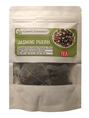 Cosmic Element 100 Pure Pu-erh Tea with Jasmine 14 Nylon Mesh Tea bags 148 Oz Attractive packing Aged Yunnan Puerh Tea Uses Detox tea Cleansing Tea Weight Loss Stress Reducer Sleep Aid