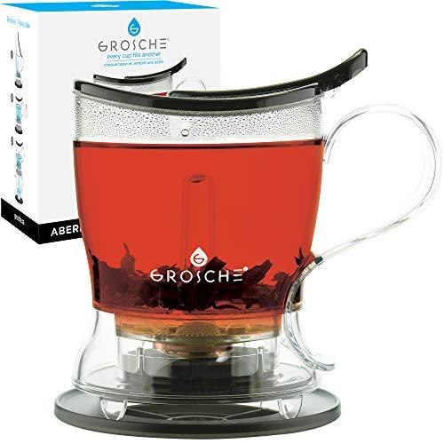 GROSCHE Aberdeen PERFECT TEA MAKER set with coaster Tea Steeper Teapot Tea Infuser 177 oz 525 ml EASY CLEAN Steeper BPA-Free BLACK Tea Pot