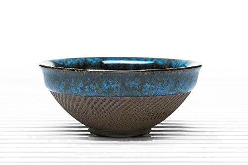 Ceramic Tea Bowl Clay Teacup Blue Crackle Glaze Taiwanese Teaware blue brown 37 oz